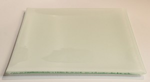 "10"" Square White Glass Plate, Bent"