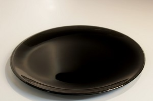 "10"" Round Black Glass Plate, Bent"