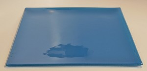 "12"" Square Blue Glass Plate, Bent"