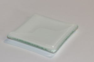 "4"" Square White Glass Plates, Bent"