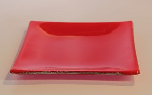 "6"" Square Red Glass Plate, Bent"