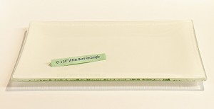 "6"" x 10"" Rectangle White Glass Plate, Bent"