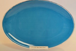 "7"" x 10"" Oval Blue Glass Plate, Bent."