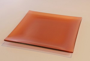 "8"" Square Metallic Red Glass Plate, Bent."
