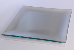 "8"" Square Silver Glass Plate, Bent."