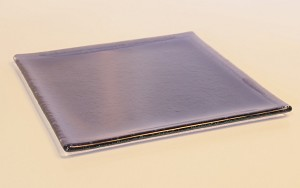 "7"" Square Transparent Purple Glass Plate, Shallow Bend."