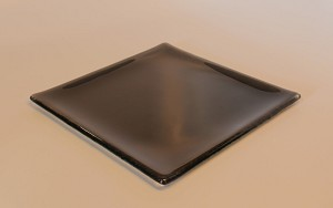 "7"" Square Transparent Black Glass Plate, Shallow Bend."