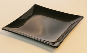 "8"" Square Black Glass Plate, Bent."