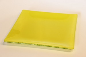 "9"" Square Yellow Glass Plate, Bent."