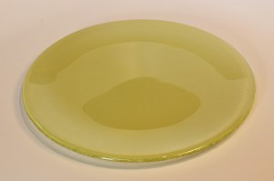 "10"" Round Pale Yellow Glass Plate, Bent"