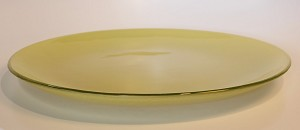 "13"" Round Pale Yellow Glass Plate, Bent"