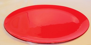 "14"" x 19"" Oval Red Glass Platter, Bent"