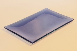 "5"" x 8"" Rectangle Transparent Blue Glass Plate, Bent."