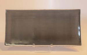 "5"" x 10"" Rectangle Transparent Black Glass Plate, Bent."