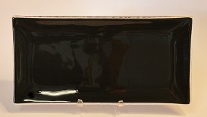 "5"" x 10"" Rectangle Black Glass Plate, Bent."