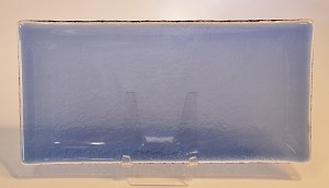 "5"" x 10"" Rectangle Transparent Blue Glass Plate, Bent."