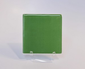 "4"" Square Green Glass, Flat"