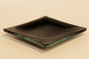 "4"" Square Black Glass Plate, Bent"