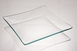 "2nds - 6"" Square Clear Glass Plate, 3/16"