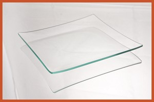 "2nds - 7"" Square Clear ""BENT"" Glass Plate 1/8"