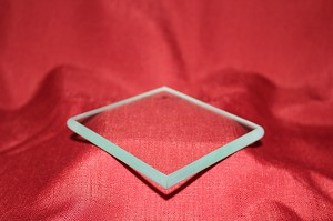 "2nds - 4"" Square Clear Glass Paperweight, 3/8"""