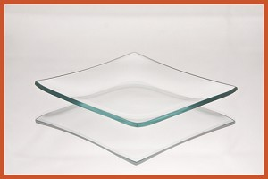 "4"" Square Clear ""BENT"" Glass Plate 1/8"