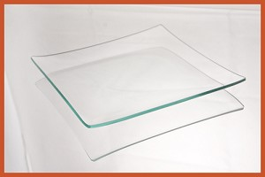 "7"" Square Clear ""BENT"" Glass Plate 1/8"