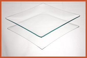 "8"" Square Clear ""BENT"" Glass Plate 1/8"