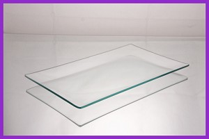 "6"" x 10"" Rectangle Shallow ""BENT"" Clear Glass Plate 1/8"