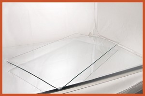 "12"" x 20"" Rectangle Clear "" BENT"" Glass Plate 1/8"
