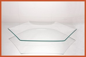 "12"" Hexagon Clear ""BENT"" Glass Plate 1/8"""