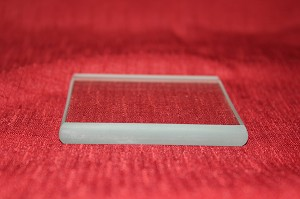 "4"" Square Clear Glass Paperweight, 3/8"""