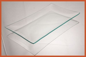 "5"" X 10"" Rectangle Bent Clear Glass Plate  1/8"