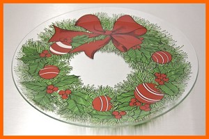 "13"" Round Christmas Wreath Glass Plate 1/8"""