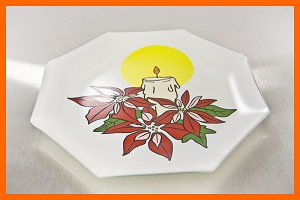 "10"" Poinsettia Octagon White Background 1/8"