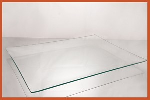 "10 1/2"" x 16 1/2"" Rectangle Bent  Clear Glass Plate 1/8"