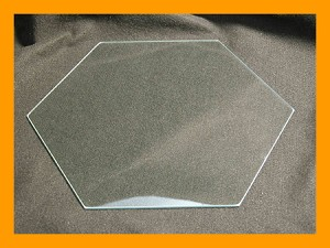 "9"" Hexagon Flat Glass, 1/8"""