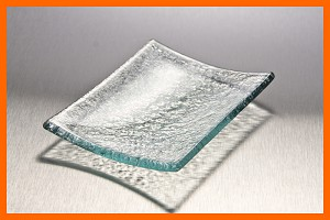 "3.5"" x 4.5"" Flip Up Soap Dish or Single Serve Textured Glass Plate 3/16"""