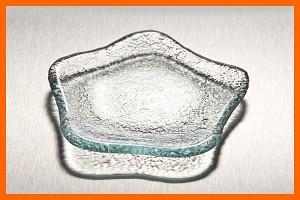 "4"" Star Soap Dish or Single Serve Textured Glass Plate 3/16"""