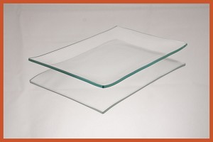 "2nds - 4 1/2"" x 6 1/2"" Rectangle Clear Bent Glass Plate 1/8"