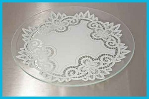 "13"" Round Battenberg Lace Glass Plate 1/8"""