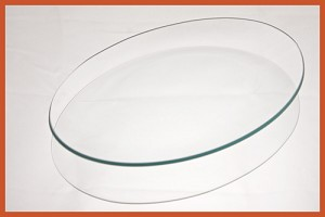 "2nds - 7"" x 10"" Oval Bent Clear Glass Plate 1/8"