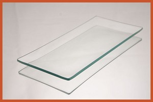 "2nds - 3 1/2"" x 7 1/2"" Rectangle Clear Bent Glass Plate 1/8"