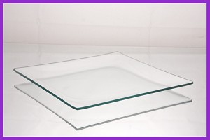 "2nds - 8"" Square Shallow Bend Clear Glass Plate 1/8"