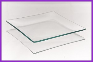 "2nds - 6"" Square Shallow Bent Clear Glass Plate 1/8"